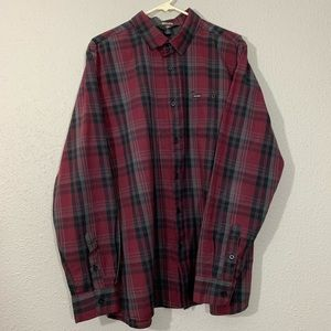 Volcom Modern Fit  Burgundy Plaid L/S Shirt XL
